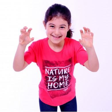 T-shirt Earth Zoo Kids Feminina Nature is my Home Coral