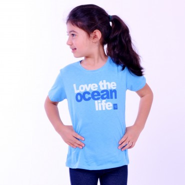 T-shirt Earth Zoo Kids Feminina Love The Ocean Life Azul