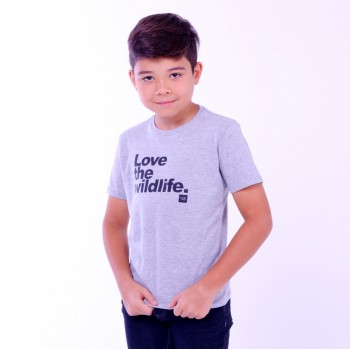 T-shirt Earth Zoo Kids Masculina Love The Wild Life Cinza