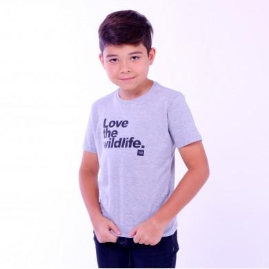 T-shirt Earth Zoo Kids Masculina Love The Wild Life Cinza