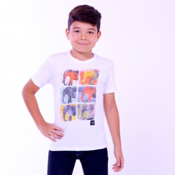 T-shirt Earth Zoo Kids Masculina Elefantes Branca