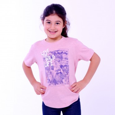 T-shirt Earth Zoo Kids Feminina Leão Rosa