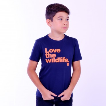 T-shirt Earth Zoo Kids Masculina Love The Wild Life Azul Marinho