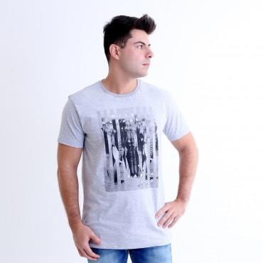 T-shirt Earth Zoo Masculina Elefante Cinza Mescla
