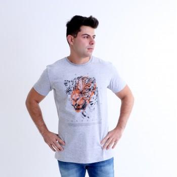 T-shirt Earth Zoo Masculina Onça Pintada Cinza Mescla