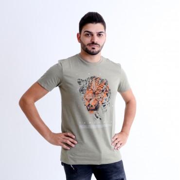 T-shirt Earth Zoo Masculina Onça Pintada Verde Musgo