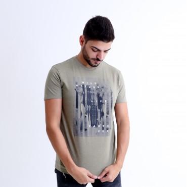 T-shirt Earth Zoo Masculina Elefante Verde Musgo