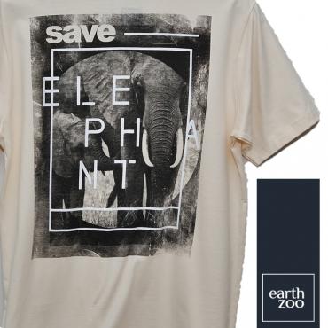 T-shirt Earth Zoo Masculina - Elefante Back Creme