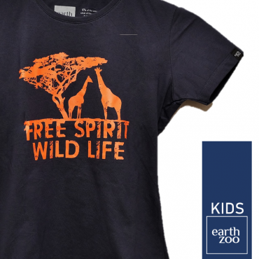 T-shirt Earth Zoo Kids Girafa Azul Marinho