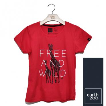 T-shirt Earth Zoo Feminina Girafa Vermelha