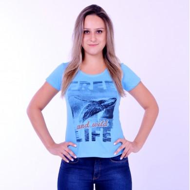T-shirt Earth Zoo Feminina Baleia Jubarte 2 Azul