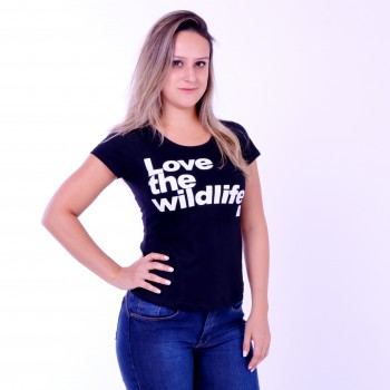 T-shirt Earth Zoo Feminina Love The Wild Life Preta