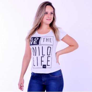 T-shirt Earth Zoo Feminina Love The Wild Life Cinza