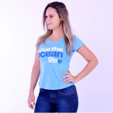 T-shirt Earth Zoo Feminina Love The Ocean Life Azul