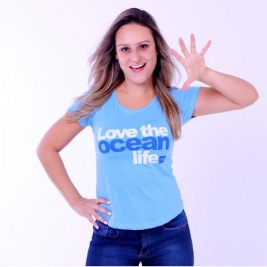 T-shirt Earth Zoo Feminina Love The Ocean Life Azul