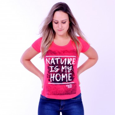 T-shirt Earth Zoo Feminina Nature is My Home Coral