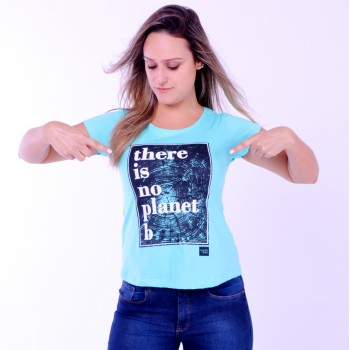 T-shirt Earth Zoo Feminina There is no Planet B Verde