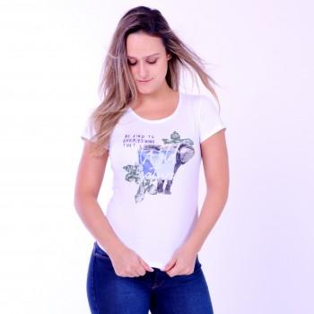 T-shirt Earth Zoo Feminina Elefante Colagem Branca