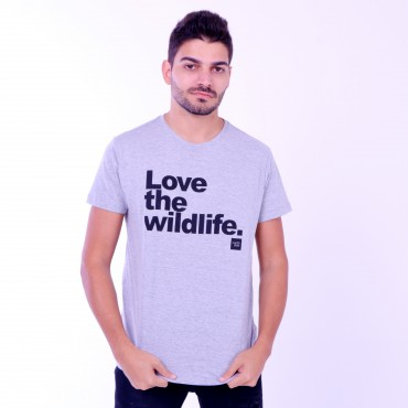 T-shirt Earth Zoo Masculina Love The Wild Life Cinza