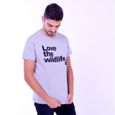 T-shirt Earth Zoo Masculina Love The Wild Life Cinza