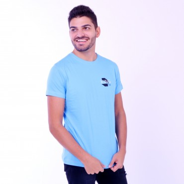 T-shirt Earth Zoo Masculina Leão 2 Azul