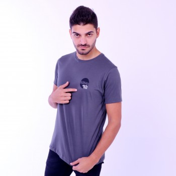 T-shirt Earth Zoo Masculina Elefante 2 Cinza