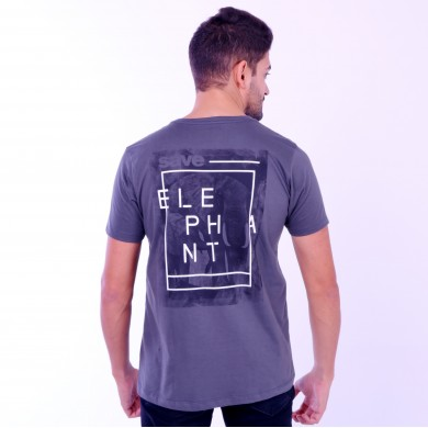 T-shirt Earth Zoo Masculina Elefante 2 Cinza