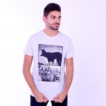 T-shirt Earth Zoo Masculina Lobo Guará Cinza
