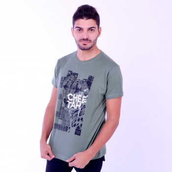 T-shirt Earth Zoo Masculina Cheetah Verde