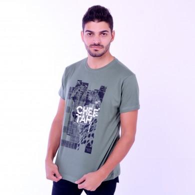 T-shirt Earth Zoo Masculina Cheetah Verde