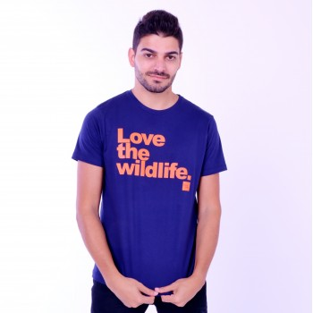T-shirt Earth Zoo Masculina Love The Wild Life Azul Marinho