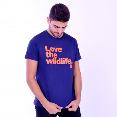 T-shirt Earth Zoo Masculina Love The Wild Life Azul Marinho