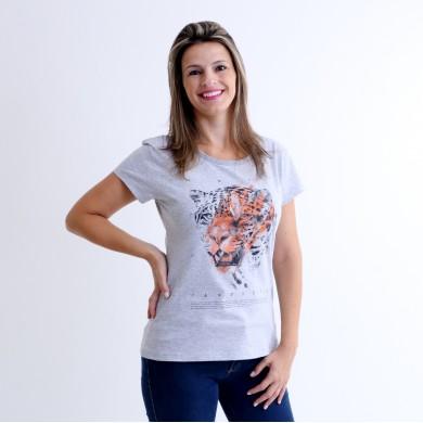 T-shirt Earth Zoo Feminina Onça Pintada Cinza Mescla