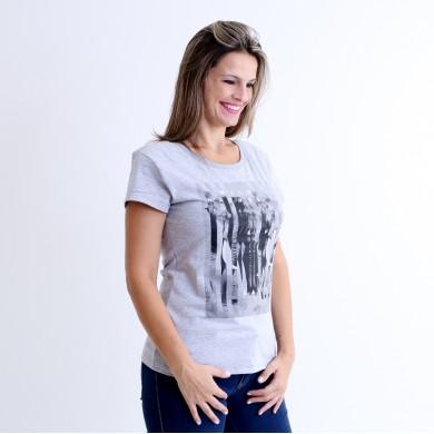 T-shirt Earth Zoo Feminina Elefante Cinza Mescla