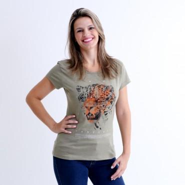T-shirt Earth Zoo Feminina Onça Pintada Verde Musgo