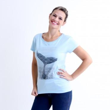 T-shirt Earth Zoo Feminina Baleia Jubarte Azul