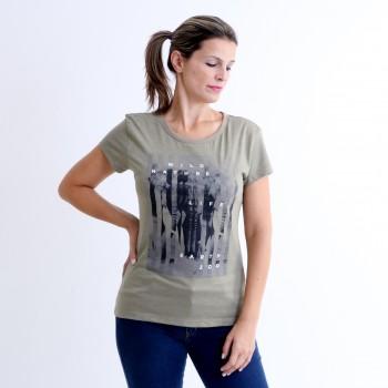 T-shirt Earth Zoo Feminina Elefante Verde Musgo