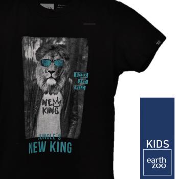 T-shirt Earth Zoo Kids Leão de Óculos Preta