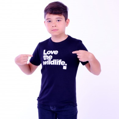 T-shirt Earth Zoo Kids Masculina Love The Wild Life Preta