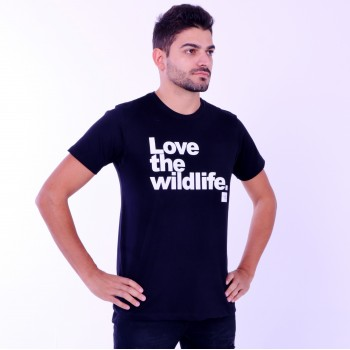 T-shirt Earth Zoo Masculina Love The Wild Life Preta