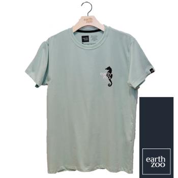 T-shirt Earth Zoo Masculina - Cavalo Marinho Costas Verde Água