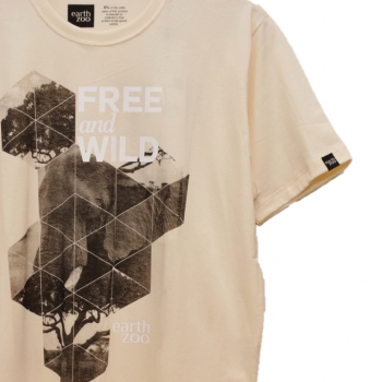 T-shirt Earth Zoo Masculina - Elefante Creme