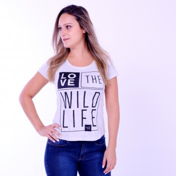 T-shirt Earth Zoo Feminina Love the Wildlife Cinza
