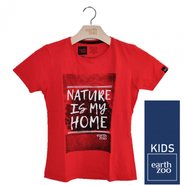 T-shirt Earth Zoo Kids Nature is my Home Coral