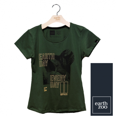 T-shirt Earth Zoo Feminina - Lagarto Verde