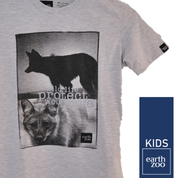 T-shirt Earth Zoo Kids Lobo Guará Cinza