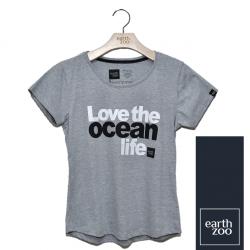 T-shirt Earth Zoo Feminina - Love the Ocean Life Cinza