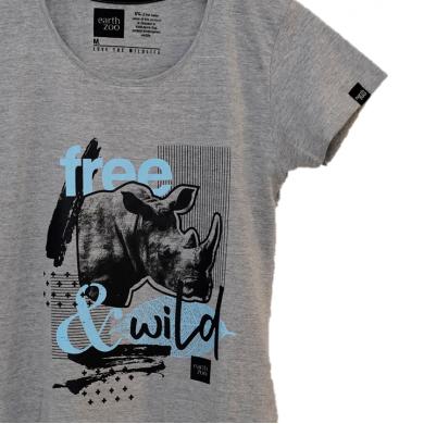 T-shirt Earth Zoo Feminina - Rinoceronte Cinza