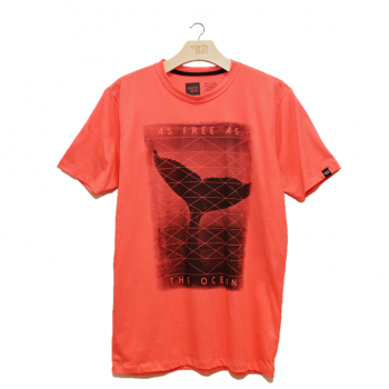 T-shirt Earth Zoo Masculina - Baleia Jubarte Coral