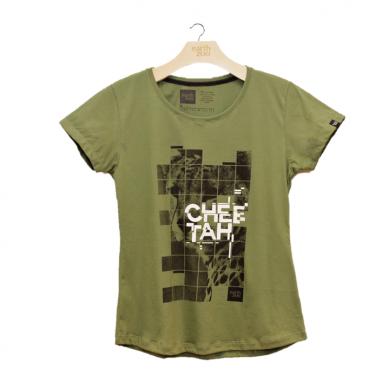 T-shirt Earth Zoo Feminina - Cheetah Verde